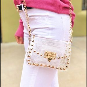 "Clear Chain Purse- Gold ""The Jackie"""